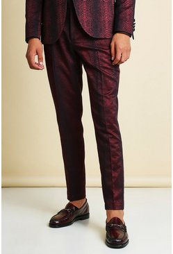 Wine red Skinny Snake Jacquard Suit Trouser