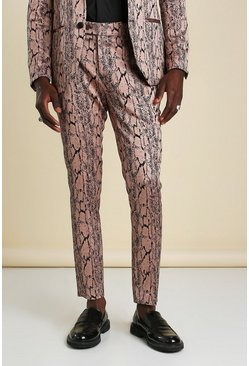 Pink Skinny Snake Jacquard Suit Trouser