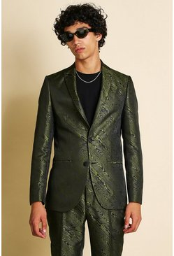 Khaki Skinny Animal Jacquard Suit Jacket