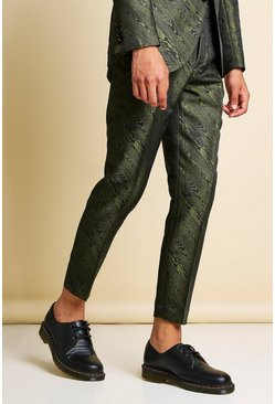 Khaki Skinny Animal Jacquard Cropped Suit Trouser