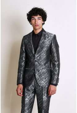 Grey Skinny Animal Jacquard Suit Jacket