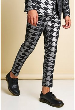 Skinny Metallic Dogtooth Jacquard Suit Trouser, Silver