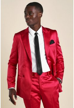 Red Skinny Plain Sateen Double Breasted Suit Jacket