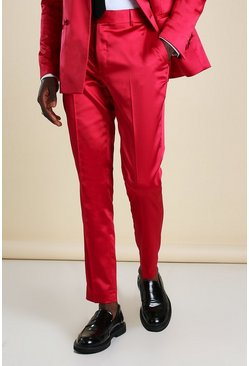 Red Skinny Plain Sateen Suit Trouser