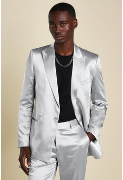 Silver Skinny Plain Sateen Double Breasted Suit Jacket