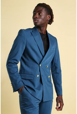 Teal green Skinny Plain Double Breasted Suit Jacket