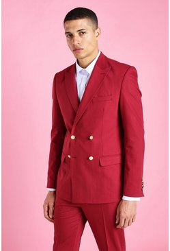 Skinny Plain Double Breasted Suit Jacket, Burgundy rojo