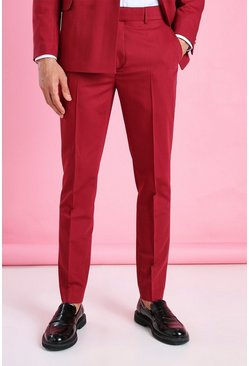 Pantalon de costume uni coupe courte skinny, Bordeaux rouge