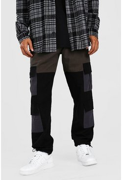 Green Colour Block Cargo Trouser With Bungee Cord Cuff