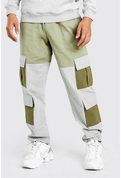 Stone beige Colour Block Cargo Trouser With Bungee Cord Cuff