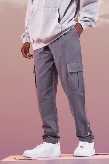 Charcoal grey Twill Cargo Trouser With Popper Ankle