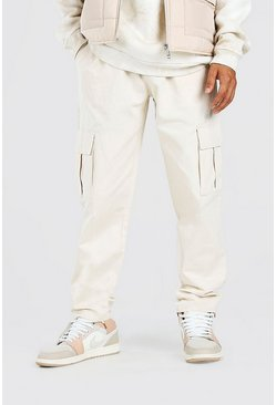 Stone beige Twill Cargo Trouser With Popper Ankle
