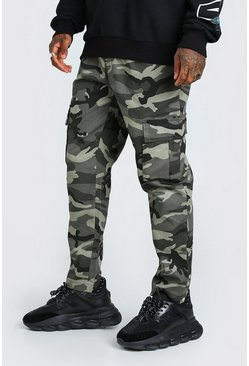Dark grey grey Camo Twill Cargo Trouser With Popper Ankle