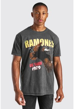 Charcoal grey Oversized Ramones Overdye License T-Shirt