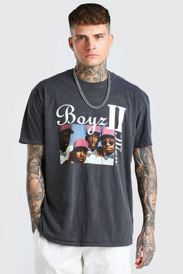 Charcoal grey Oversized Boys 2 Men Overdye License T-Shirt