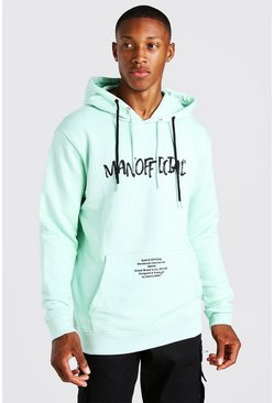 Mint green MAN Official Gothic Print Hoodie