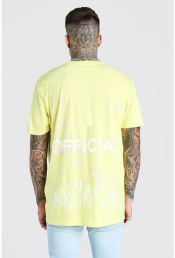 Yellow Oversized MAN Official Graffiti Print T-Shirt