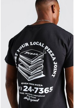Black Original MAN Pizza Front And Back Print T-Shirt