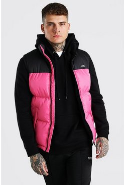 Pink Man Dash Colour Block Bodywarmer