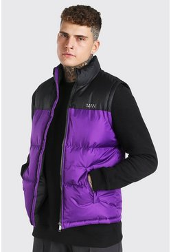 Lilac purple Man Dash Colour Block Bodywarmer