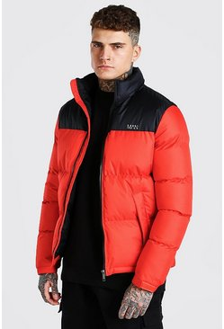 Red MAN Dash Colour Block Puffer