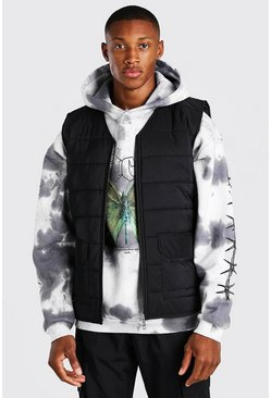 Black Zip Through Padded Gilet
