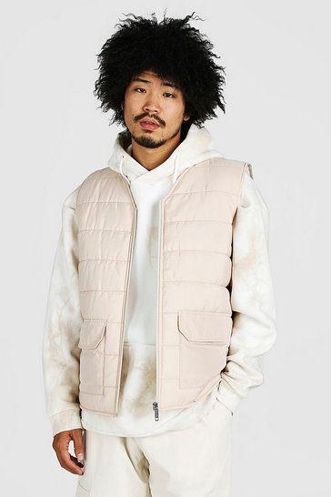 Stone beige Zip Through Padded Gilet