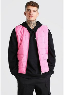 Pastel pink pink Zip Through Padded Gilet