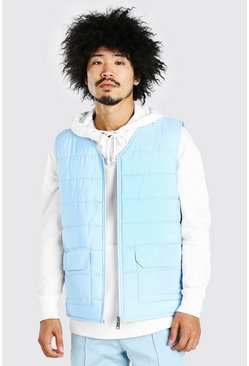 Pastel blue blue Zip Through Padded Gilet