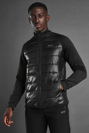 Black MAN Active Zip Through Padded Poly Top