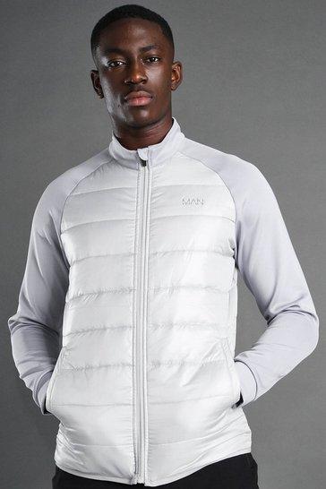 Grey MAN Active Zip Through Padded Poly Top