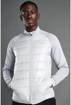 Grey MAN Active Zip Through Padded Poly Top
