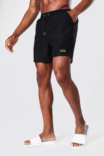Black Recycled Original Man Mid Length Swim Shorts