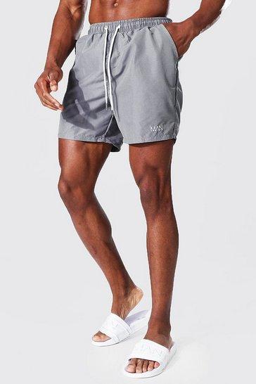 Grey Recycled Original Man Mid Length Swim Shorts