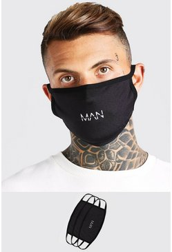 Pack de 3 mascarillas de moda MAN Dash, Negro