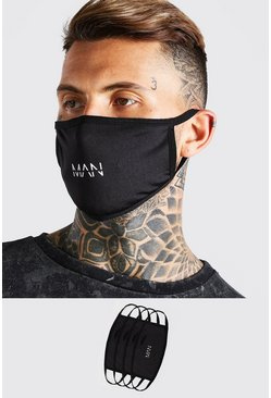 Pack de 4 mascarillas de moda MAN Dash, Negro