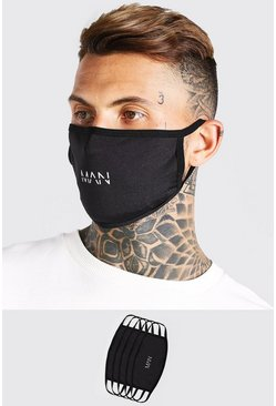 Black 5 Pack MAN Dash Reversible Fashion Masks