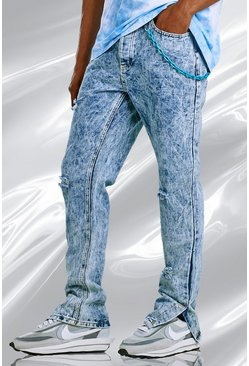 Blue Skinny Split Hem Bleached Jeans With Plastic Chain