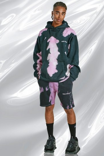 Black Tie Dye Hoodie And Short Set With Print