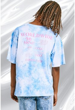 Light blue blue Oversized Tie Dye Tee With Back Print