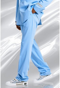 Blue Relaxed Plain Suit Trousers