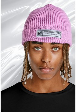 Pink Skater Fit Beanie With Woven Branded Tab