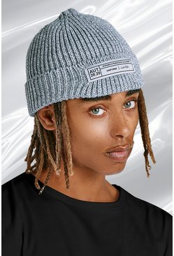 Grey marl grey Skater Fit Beanie With Woven Branded Tab