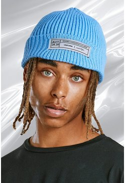 Blue Skater Fit Beanie With Woven Branded Tab