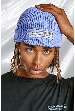 Purple Skater Fit Beanie With Rubber Branded Tab