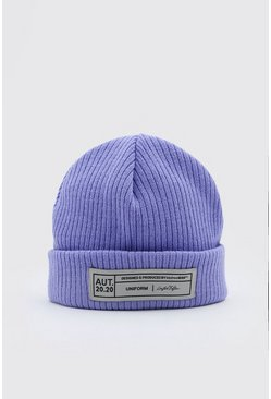 Purple Micro Fit Beanie Hat With Woven Branded Tab
