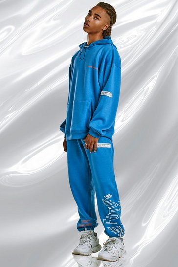 Blue MAN Official Oversized Hooded Graphic Tracksuit