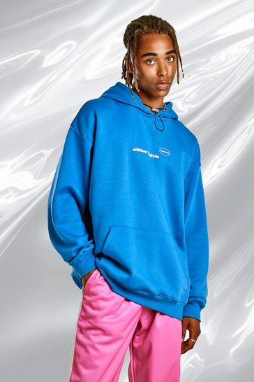 Blue Oversized Hoodie With Blush Back Print