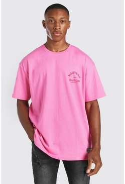 Pink Oversized T-Shirt With Nouveau Back Print