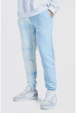 Blue Official MAN Spliced Tie Dye Jogger With Woven Tab